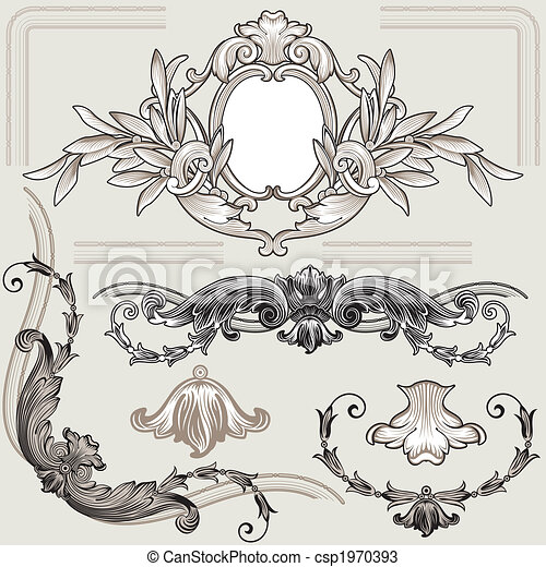 ozdoba, kwiatowy, komplet, elementy, klasyk - csp1970393