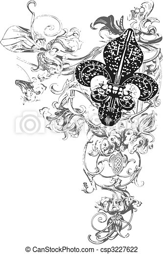 ozdoba, od, fleur, lilia - csp3227622