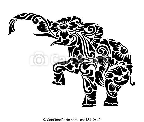 ozdoba, słoń, ozdoba, kwiatowy - csp18412442