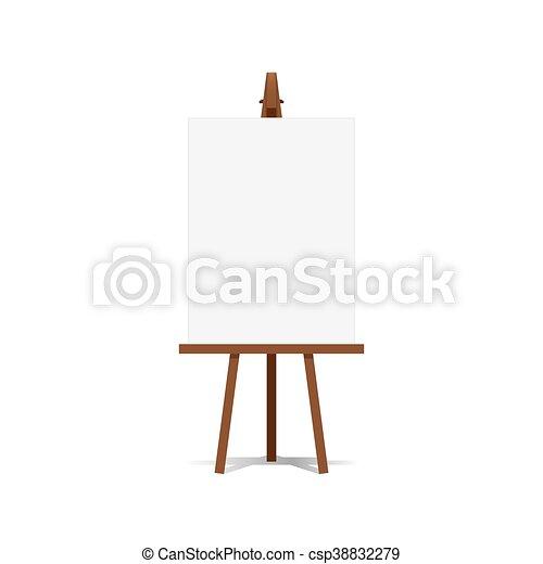 płótno, sztaluga, sztuka, przestrzeń, przedstawienia, reklama, vector., czysty, gotowy, twój - csp38832279