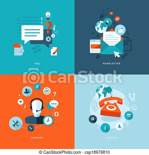 płaski, ikony, sieć, komunikacje - csp18976810
