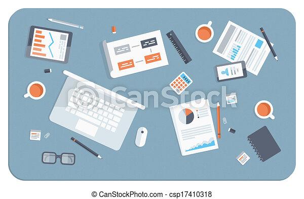 płaski, ilustracja, spotkanie, handlowy - csp17410318