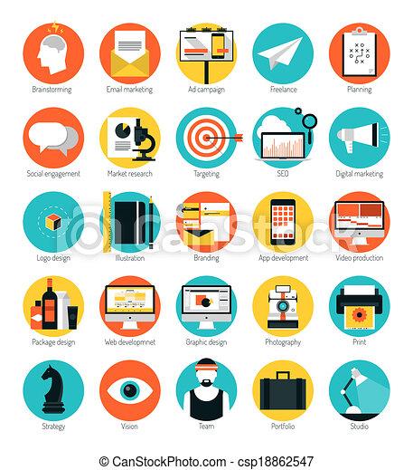 płaski, komplet, ikony, handel, projektować, służby - csp18862547