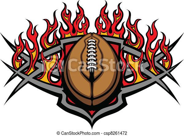 płomienie, futbolowa piłka, szablon - csp8261472