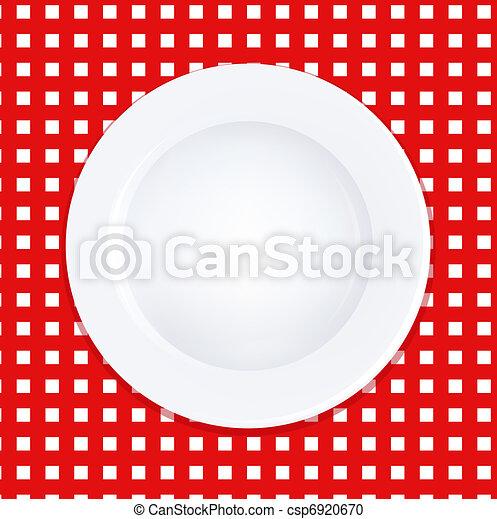 płyta, biały, klatkowy tablecloth - csp6920670