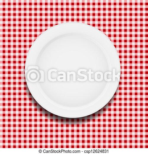 płyta, klatkowy, ilustracja, wektor, biały, tablecloth - csp12624831