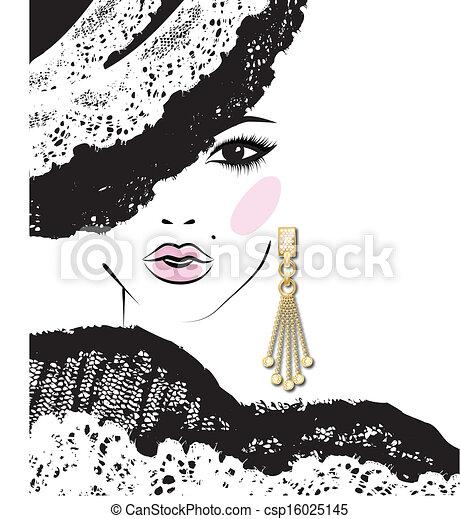 panieński, fason, kolczyk, głowa, ilustracja, rys - csp16025145