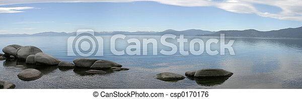 panorama, jezioro, góra, #2 - csp0170176