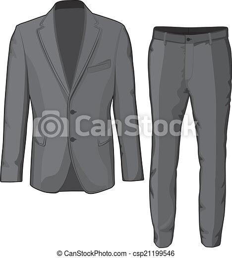 pants., marynarka, wektor, garnitur, samiec, odzież - csp21199546