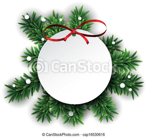 papier karta, boże narodzenie, okrągły, biały - csp16530616