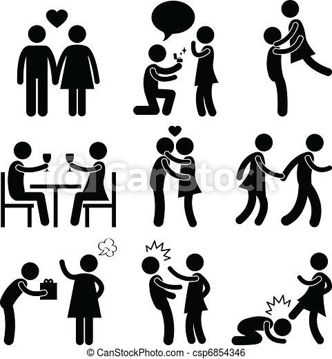 para, uścisk, miłość, propozycja, kochanek - csp6854346
