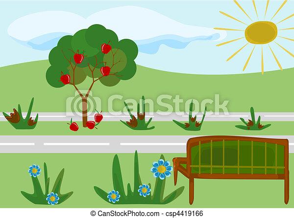 park, rysunek, dziecinny - csp4419166