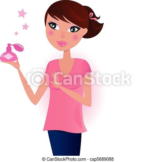 perfumy, dziewczyna, butelka, różowy - csp5689088