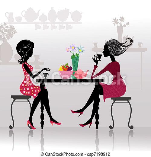 piękne dziewczyny, kawiarnie, sylwetka - csp7198912