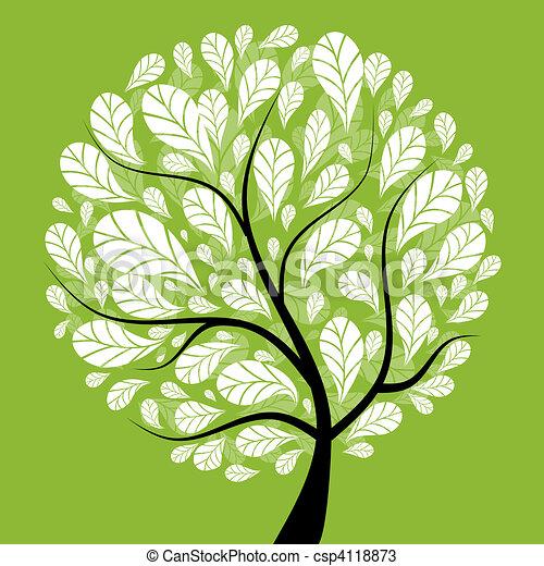 piękny, drzewo, projektować, sztuka, twój - csp4118873