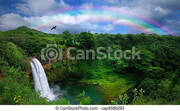 piękny, górny, wodospad, hawaje, prospekt - csp4586293