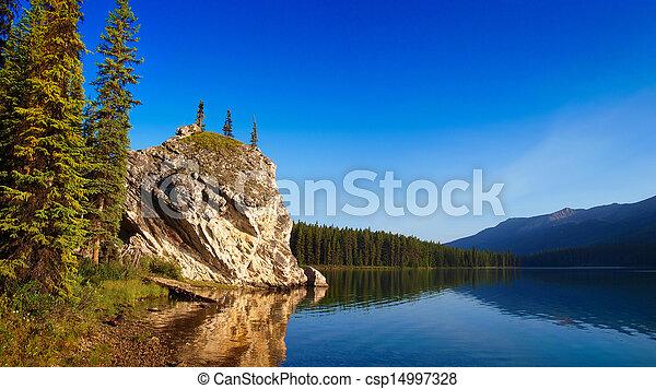 piękny, górskie jezioro, jaspis, świt, krajobraz - csp14997328