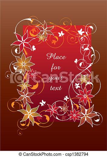 piękny, kwiatowy, ułożyć, czerwony - csp1382794