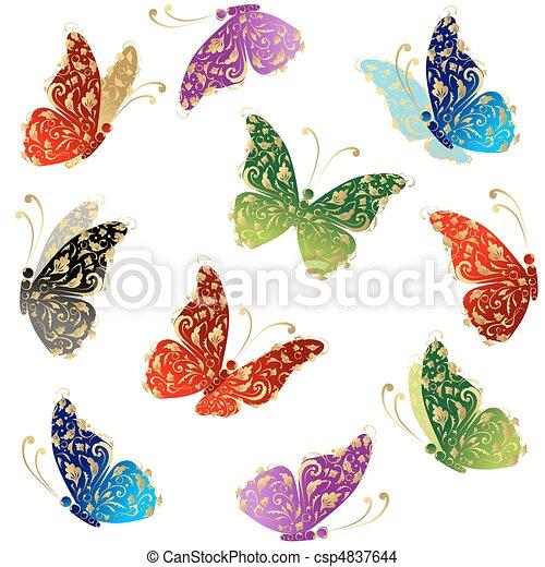 piękny, motyl, sztuka, złoty, przelotny, ozdoba, kwiatowy - csp4837644
