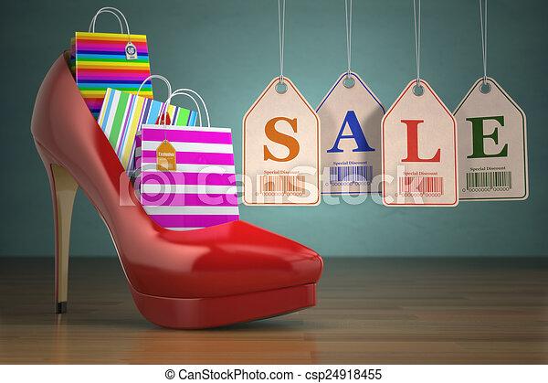pięta, zakupy, kobiety, mnóstwo, wysoki, obuwie, etykiety, pojęcie, sale. - csp24918455