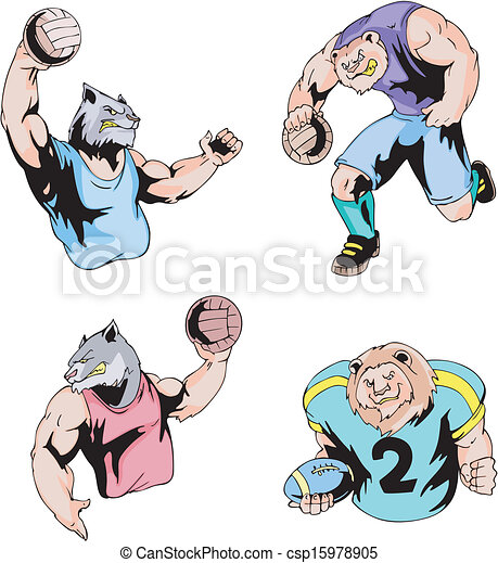 piłka nożna, -, siatkówka, amerykanka, sport, maskotki - csp15978905