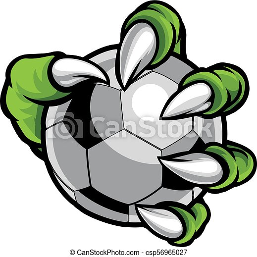 piłka, potwór, zwierzę, piłka nożna, dzierżawa, pazur, piłka nożna - csp56965027