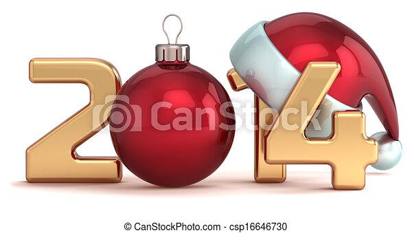 piłka, rok, nowy, 2014, boże narodzenie, szczęśliwy - csp16646730