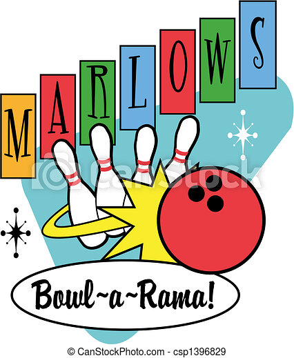 piłka, sztuka, zacisk, retro, bowling szpilki - csp1396829