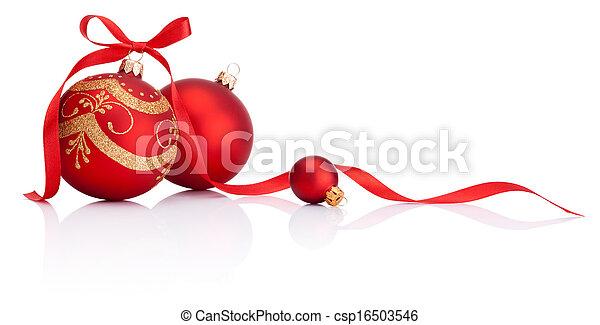piłki, odizolowany, łuk, ozdoba, wstążka, tło, białe boże narodzenie, czerwony - csp16503546