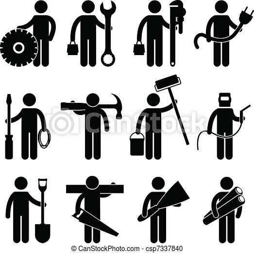 pictog, praca, budowlaniec, ikona - csp7337840