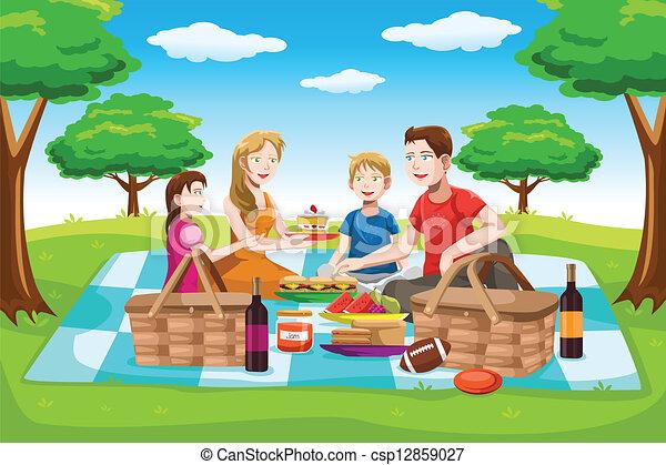 piknik, posiadanie, rodzina, szczęśliwy - csp12859027