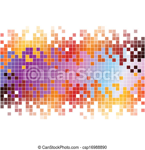 pixels, abstrakcyjny, tło, barwny, cyfrowy - csp16988890