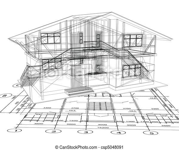 plan, wektor, house., architektura - csp5048091