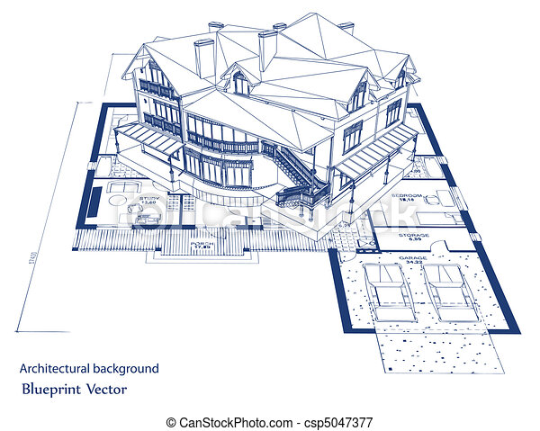 plan, wektor, house., architektura - csp5047377