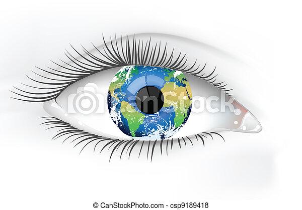 planeta, oko, ziemia, desaturated - csp9189418
