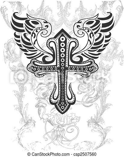 plemienny, krzyż, ilustracja, skrzydło - csp2507560