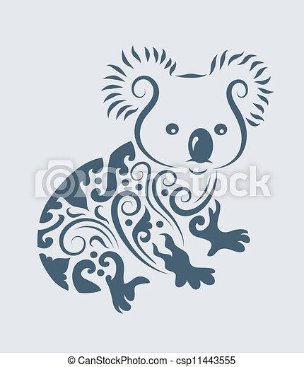 plemienny, wektor, koala - csp11443555