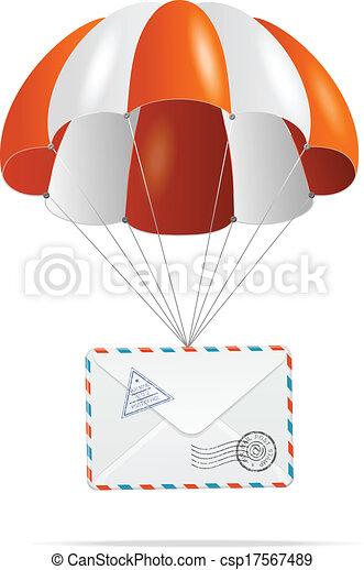 poczta, delivery., parachute. - csp17567489
