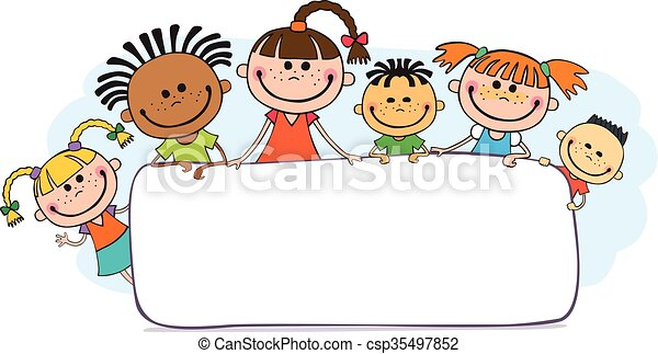 podglądający, dzieciaki, plakat, ilustracja, za - csp35497852