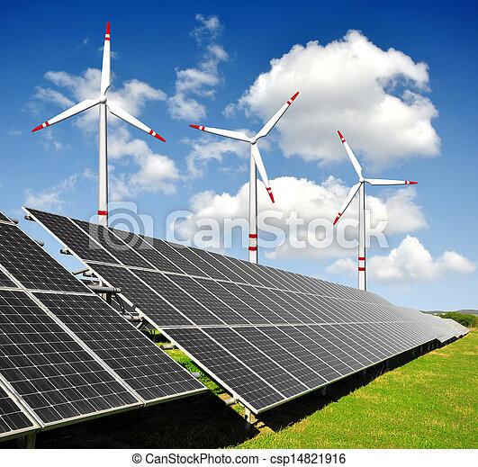 poduszeczki, energia, turbiny, słoneczny, wiatr - csp14821916