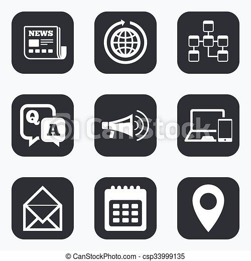 pogawędka, nowość, komunikacja, wiadomości, signs., icons. - csp33999135