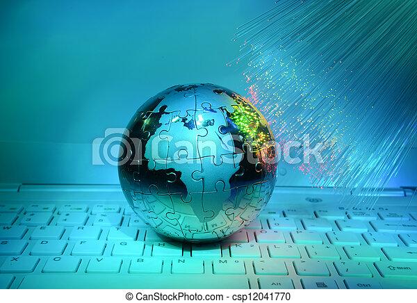 pojęcie, wzrokowy, kula, włókno, przeciw, komputer, tło, ziemia, dane - csp12041770