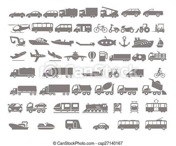 pojazd, przewóz, komplet, ikona, płaski - csp27140167