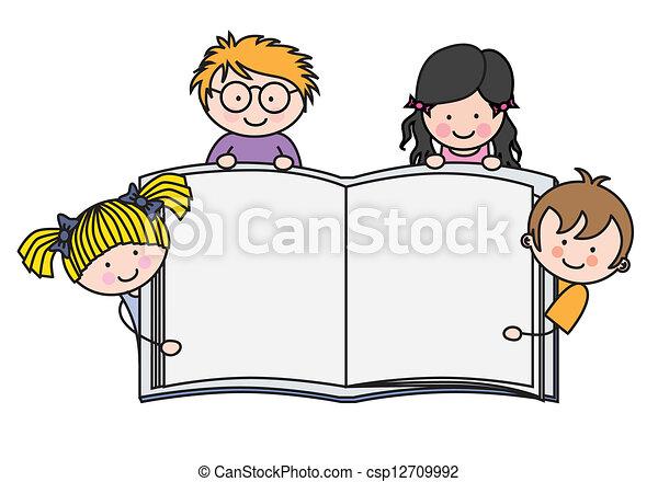 pokaz, książka, dzieci, czysty - csp12709992