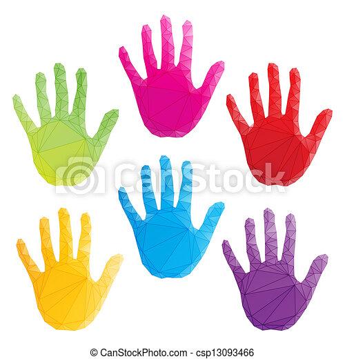 poligonal, barwny, sztuka, odciski, ręka, wektor - csp13093466