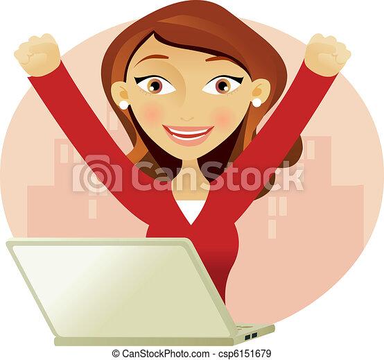 pomyślny, kobieta, laptop - csp6151679