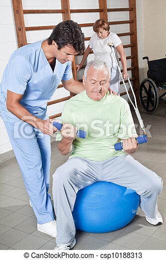 porcja, terapeuta, pacjent, fizyczny - csp10188313