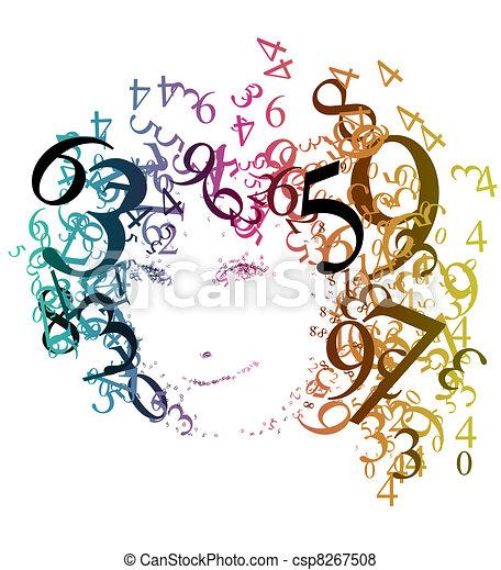 portret, abstrakcyjny, kobieta, takty muzyczne - csp8267508