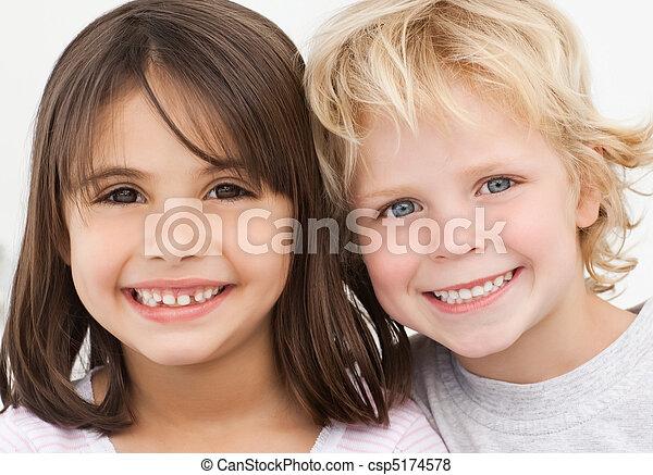 portret, dzieci, kuchnia, dwa, szczęśliwy - csp5174578
