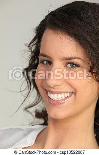 portret, kobieta, młody, śmiech - csp10522087